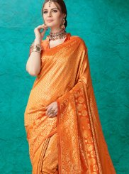 Banarasi Silk Orange Weaving Classic Saree