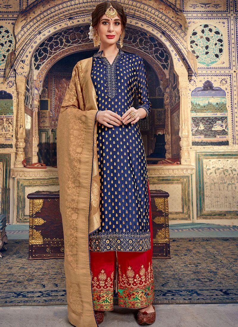 Banarasi Silk Palazzo Salwar Suit in Navy Blue
