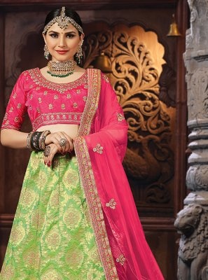 Banarasi Silk Patch Border Designer Lehenga Choli in Green