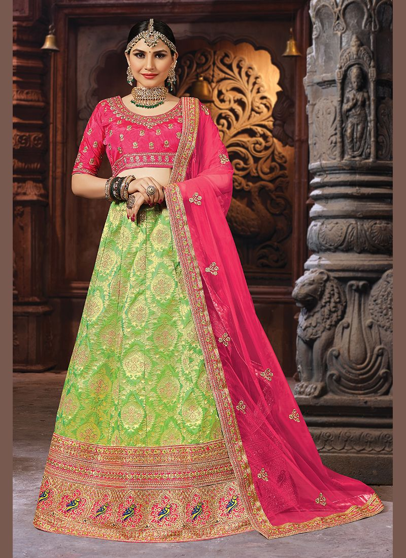 522172419e Shop Banarasi Silk Patch Border Designer Lehenga Choli in Green Online :  108443 -