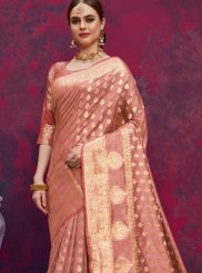 Banarasi Silk Peach Weaving Classic Designer Saree
