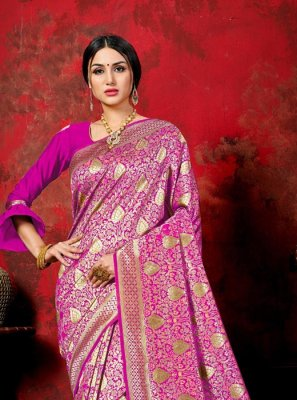 Banarasi Silk Pink Traditional Saree