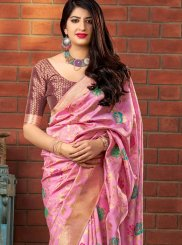 Banarasi Silk Pink Weaving Classic Saree