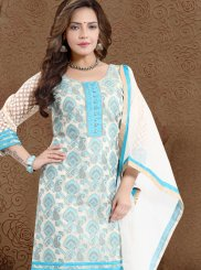 Banarasi Silk Print Blue Churidar Suit