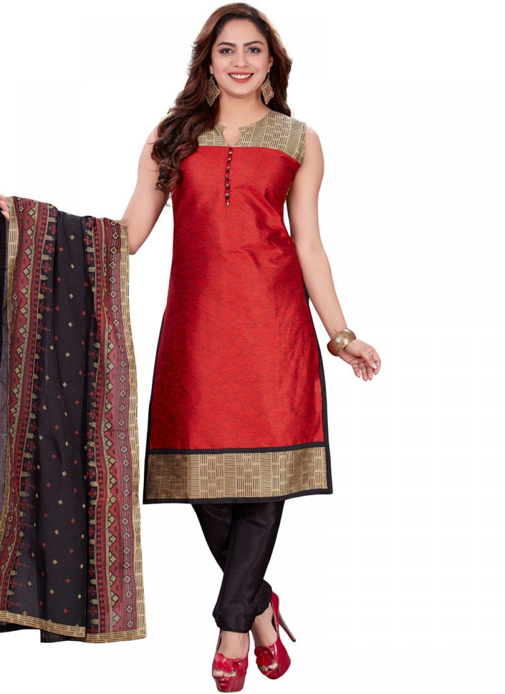 Banarasi Silk Print Churidar Designer Suit in Red