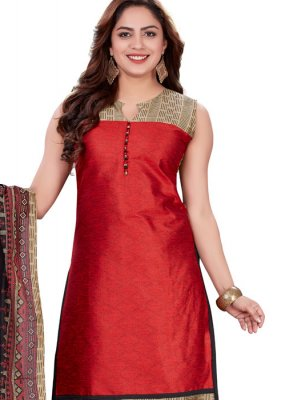 Banarasi Silk Print Churidar Designer Suit in Red