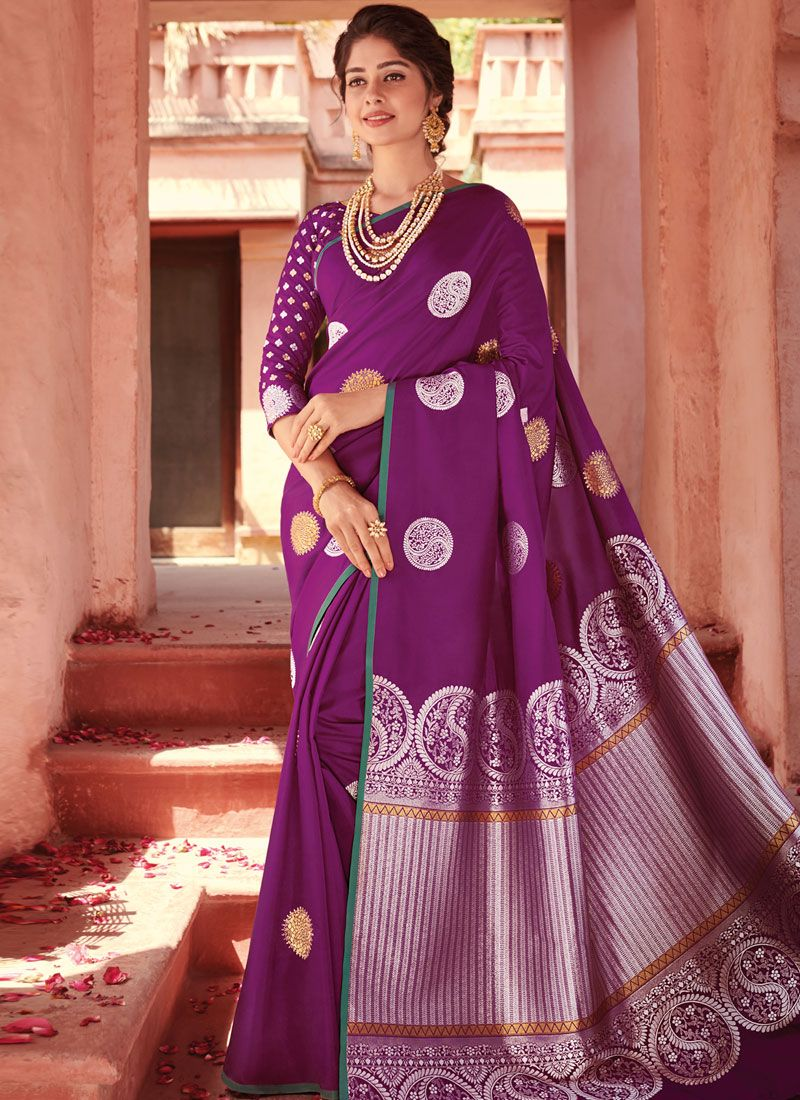Banarasi Silk Purple Designer Saree