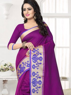 Banarasi Silk Purple Patch Border Work Silk Saree