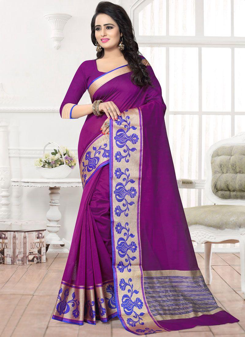 Banarasi Silk Purple Patch Border Work Silk Saree