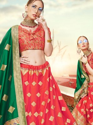 Banarasi Silk Red A Line Lehenga Choli