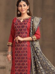 Banarasi Silk Red Embroidered Churidar Salwar Kameez