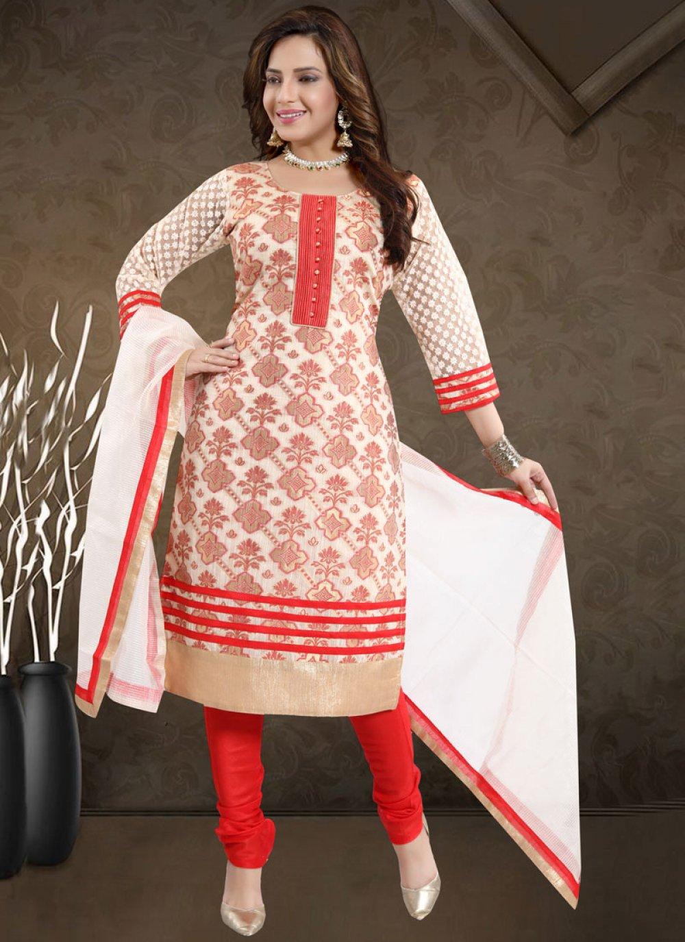 Banarasi Silk Red Print Churidar Salwar Kameez