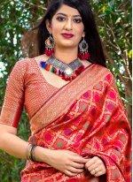 Banarasi Silk Red Woven Trendy Saree