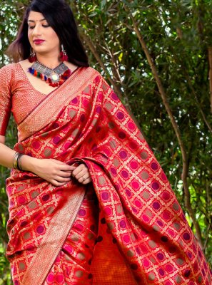 Banarasi Silk Red Woven Trendy Saree
