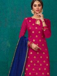 Banarasi Silk Rose Pink Weaving Churidar Salwar Suit