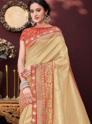 Banarasi Silk Stone Work Cream Designer Saree
