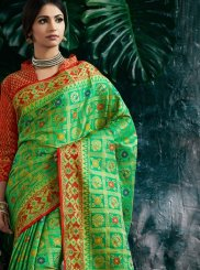 Banarasi Silk Traditional Designer Saree in Green and Red