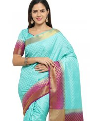 Banarasi Silk Weaving Blue Designer Traditional Saree