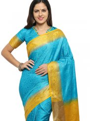 Banarasi Silk Weaving Blue Traditional Saree