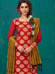 Banarasi Silk Weaving Churidar Salwar Suit in Red