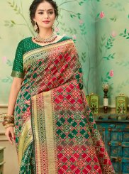 Banarasi Silk Weaving Classic Saree in Green and Red