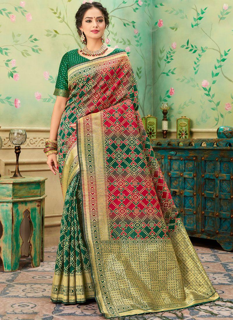 Banarasi Silk Weaving Classic Saree in Green and Red