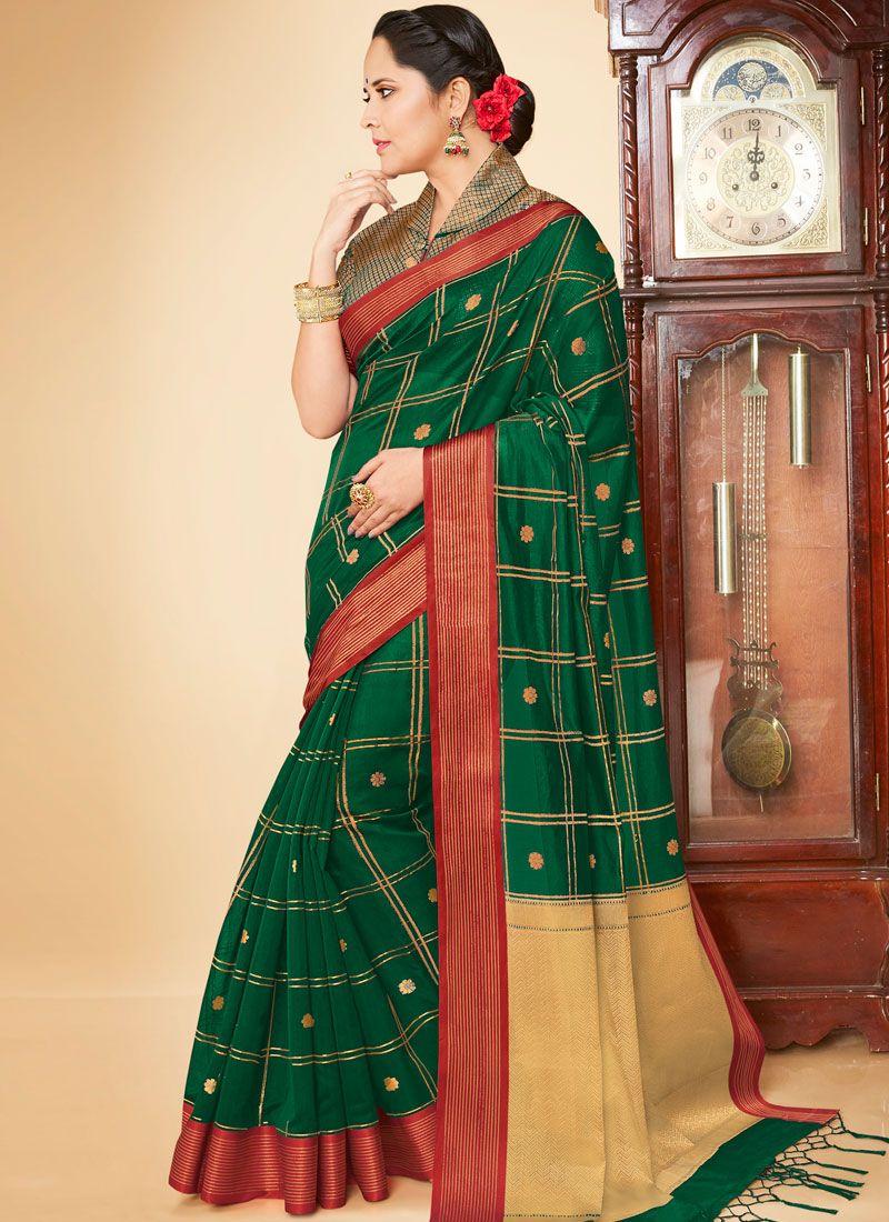 Banarasi Silk Weaving Green Traditional Saree