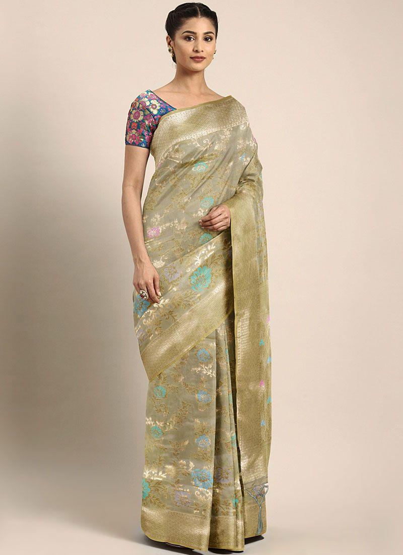 Banarasi Silk Weaving Grey Silk Saree