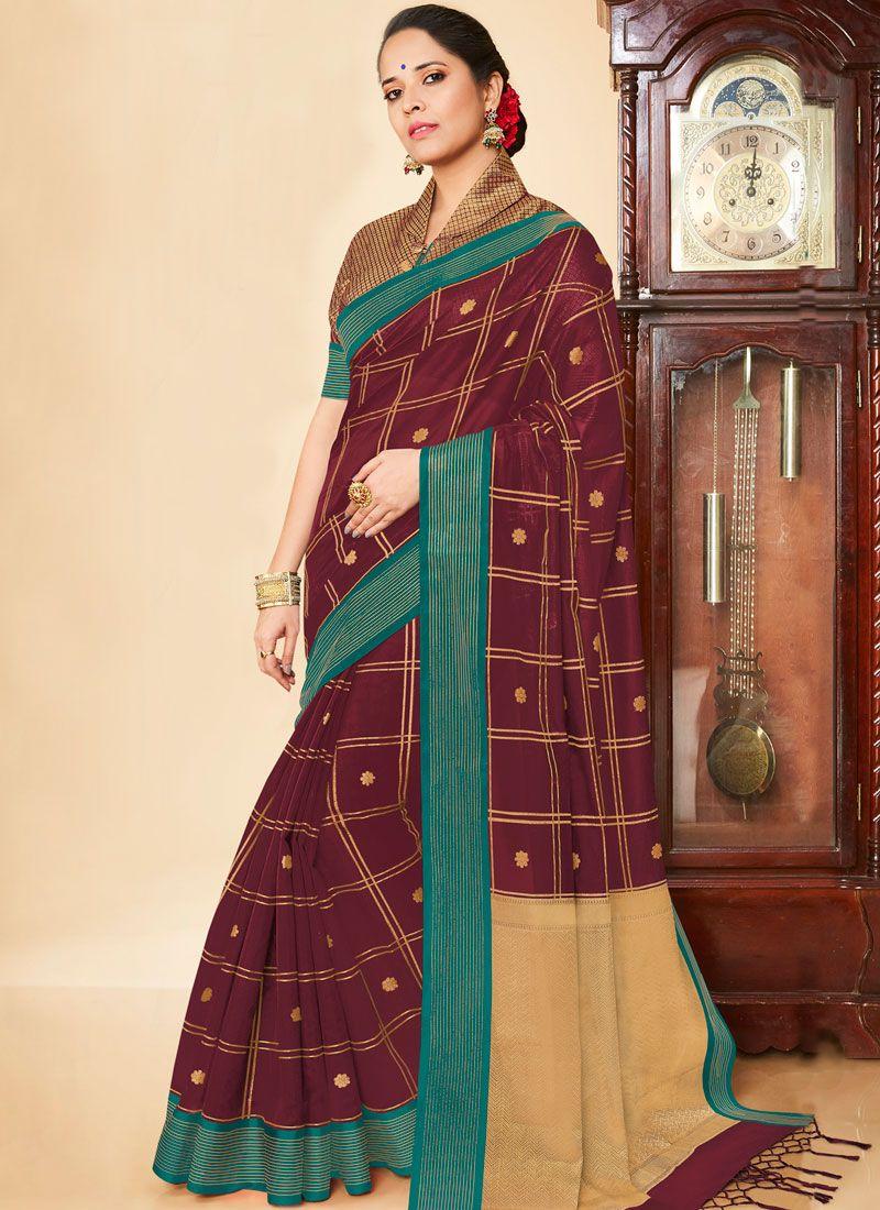 Banarasi Silk Weaving Maroon Silk Saree