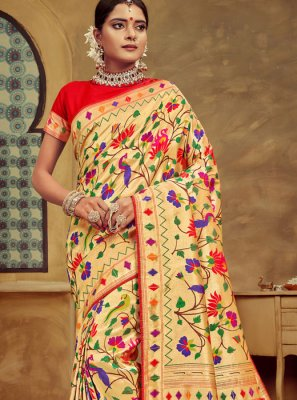 Banarasi Silk Weaving Traditional Designer Saree in Multi Colour