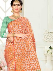 Banarasi Silk Weaving Traditional Saree in Orange