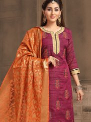 Banarasi Silk Wine Embroidered Designer Salwar Suit