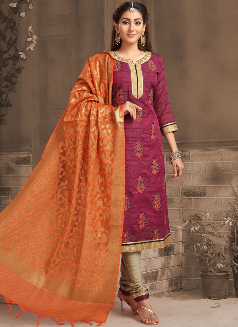 Banarasi Silk Wine Embroidered Designer Salwar Suit