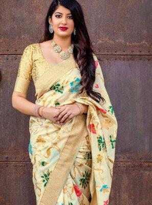 Banarasi Silk Woven Cream Designer Saree
