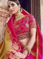 Banarasi Silk Woven Gold and Magenta Silk Saree