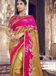 Banarasi Silk Woven Gold and Magenta Silk Saree
