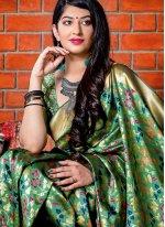 Banarasi Silk Woven Green Designer Saree