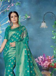 Banarasi Silk Woven Sea Green Designer Traditional Saree