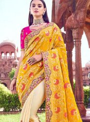 Banarasi Silk Yellow Embroidered Traditional Designer Saree