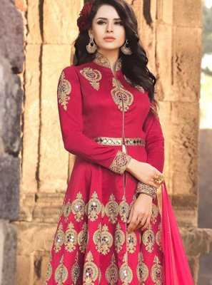 Banarasi Silk Zari Work Floor Length Anarkali Suit