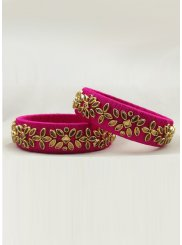 Bangles Stone Work in Hot Pink