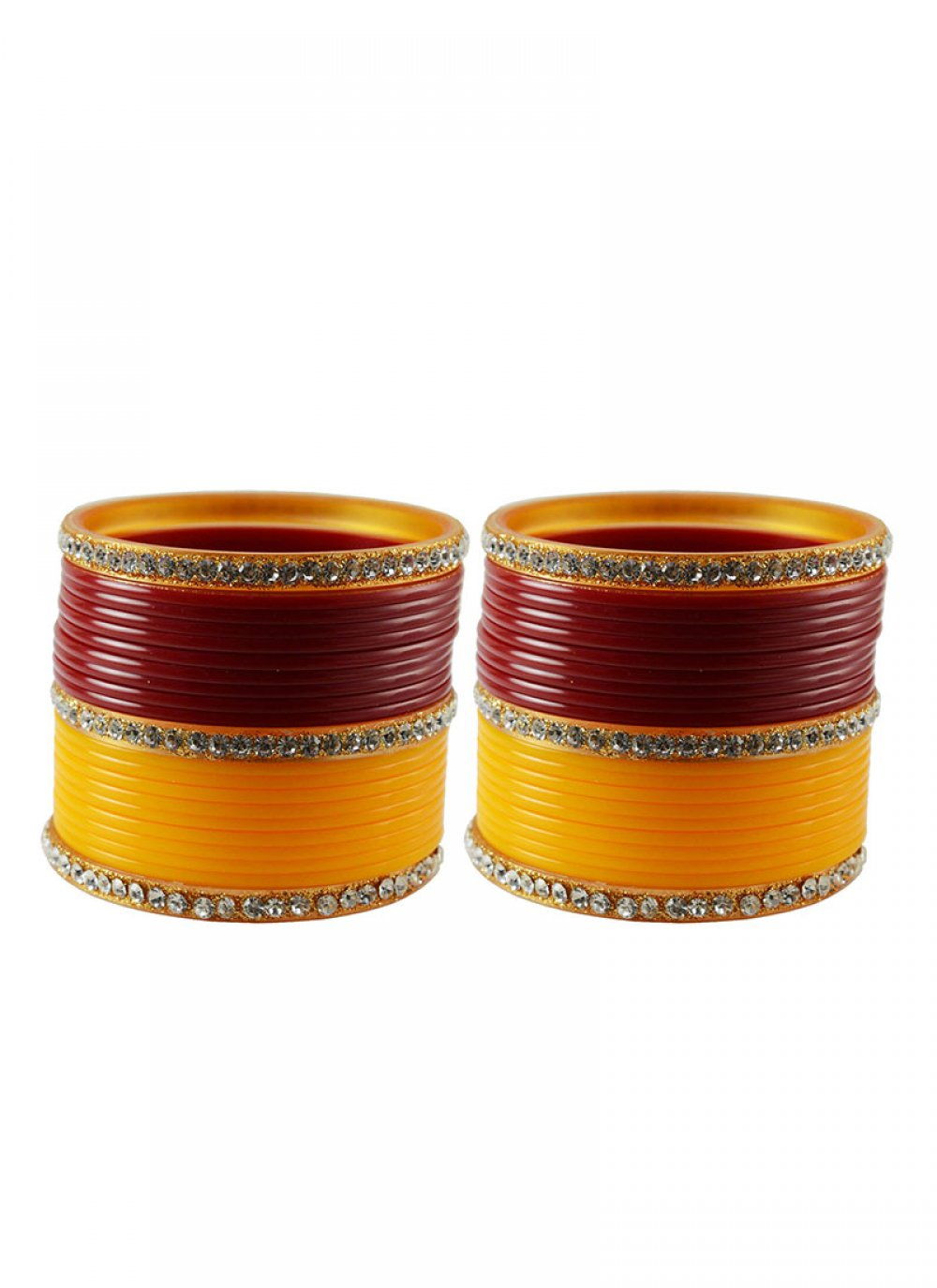 Bangles Stone Work in Orange and Red
