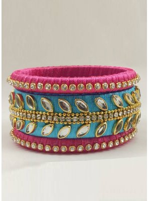 Bangles Stone Work in Pink and Turquoise