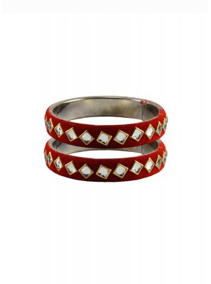 Bangles Stone Work in Red