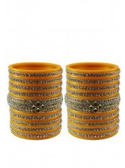 Bangles Stone Work in Yellow