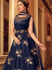 Banglori Silk Blue Embroidered Floor Length Anarkali Suit