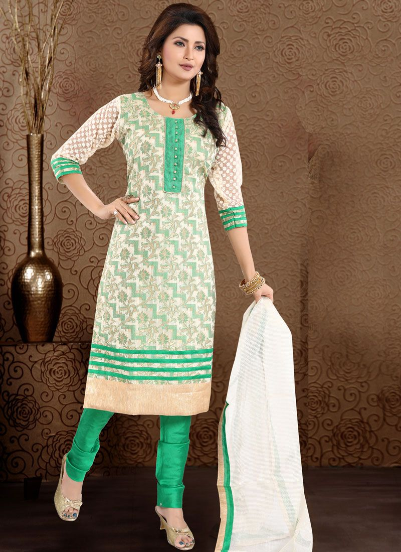 Banglori Silk Churidar Designer Suit in Sea Green