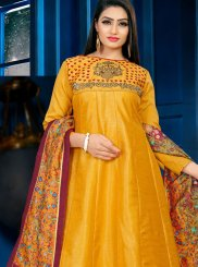 Banglori Silk Embroidered Trendy Gown in Yellow