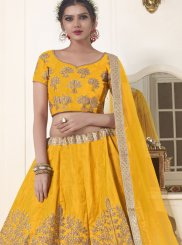 Banglori Silk Embroidered Yellow Lehenga Choli