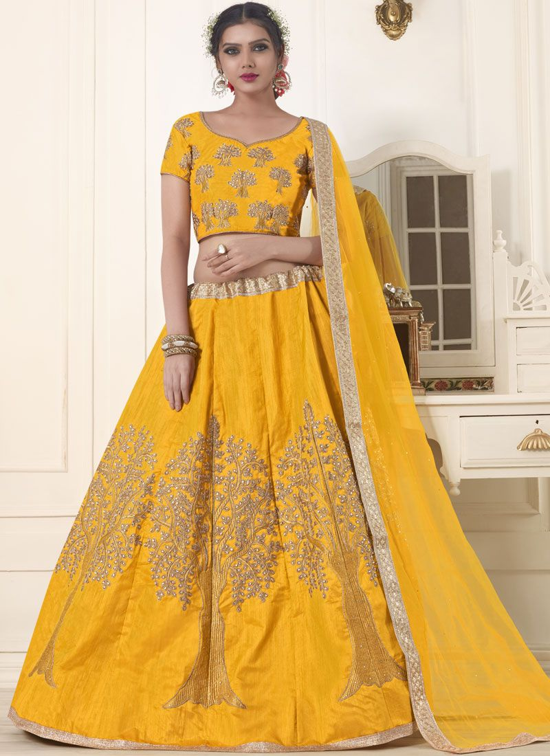 Banglori Silk Embroidered Yellow Lehenga Choli